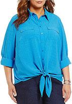 Allison Daley Plus Button Down Tie-Front Solid Blouse