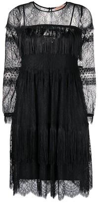 Twin-Set Fringed Lace-Sleeve Dress
