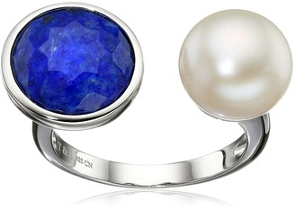 Tara Pearls Sterling Silver 10x10.5mm White Freshwater Pearl and Lapis Ring Size 7