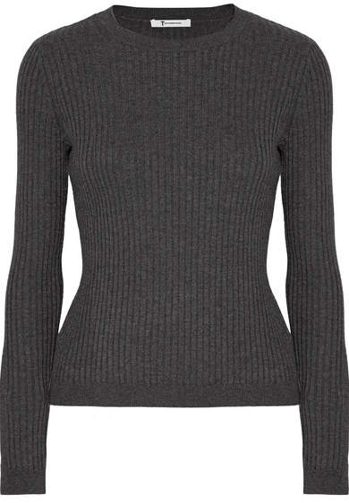 Alexander Wang Ribbed Merino Wool-blend Sweater - Charcoal