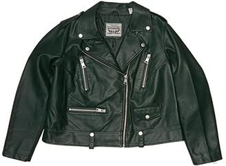Levi's Plus Size Faux Leather Moto Jacket (Hunter Green) Women's Clothing