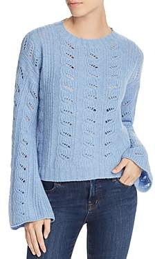Aqua Cashmere Bell-Sleeve Pointelle Cashmere Sweater - 100% Exclusive