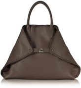 Akris Ai Medium Mocca Leather Tote w/Woven Edge