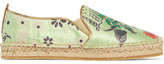 Etro Embroidered Satin Espadrilles - Sage green
