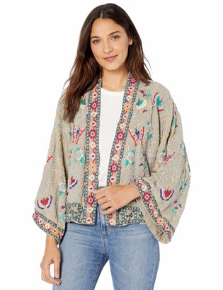 Johnny Was Women's Heavily Embroidered Jacket with and Kimono Sleeve