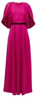 Roksanda Milena Cape-sleeve Satin Maxi Dress - Pink