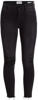 Frame Le High Skinny Crop Raw-Edge Jeans