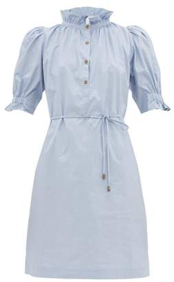 Apiece Apart Sabrina Cotton-poplin Mini Shirt Dress - Womens - Light Blue