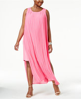 NY Collection Plus Size Pleated Layered Maxi Dress