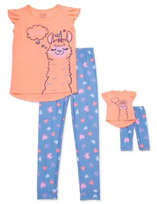 Saint Eve Girls 4-12 2-Piece Pajama Set With Matching Dollie & Me 16in. Doll Set