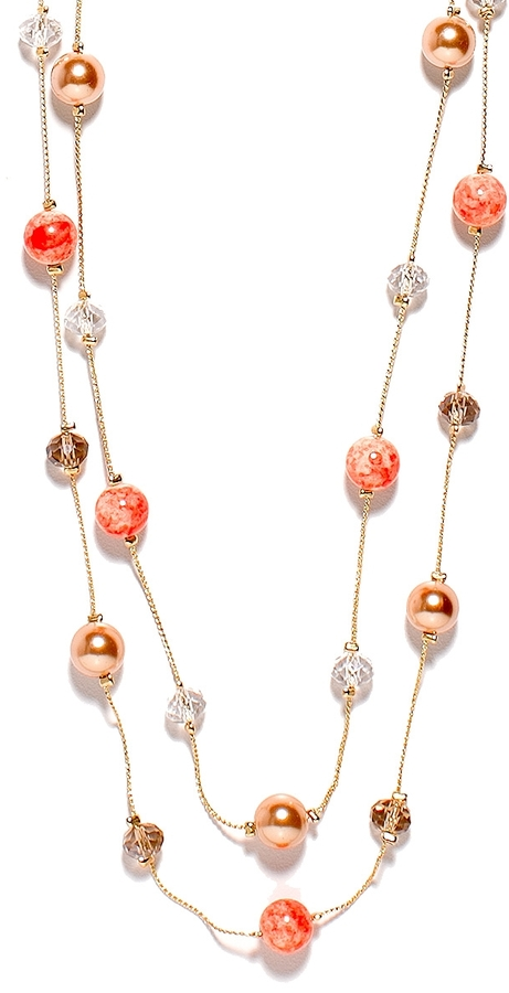 The Limited Two-Strand Rondelle Bead & Faux Pearl Necklace