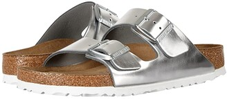 Birkenstock Arizona Soft Footbed (Metallic Silver Leather) Women's Shoes