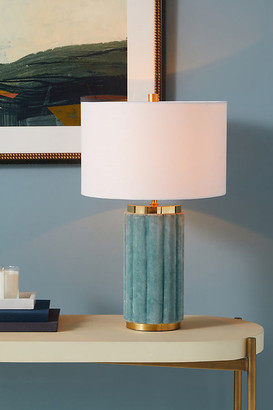 Anthropologie Marilyn Velvet Table Lamp By in Mint Size M