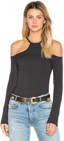 LnA Cut Out Rib Long Sleeve Top in Black