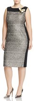 Marina Rinaldi Duo Metallic Mixed Media Sheath Dress