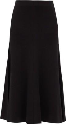 Joseph Flared Knitted Midi Skirt - Black