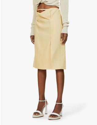 Jacquemus La Jupe Drap high-waist linen midi skirt