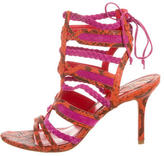 Brian Atwood Embossed Leather Cage Sandals