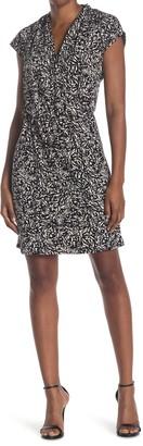 H Halston Extended Shoulder Drape Front Dress
