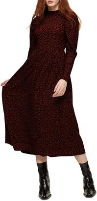 Topshop Animal Print Long Sleeve Midi Dress