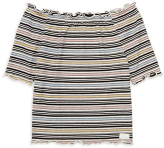 7 For All Mankind Girl's Striped Off-The-Shoulder Top