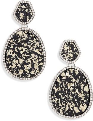 Halogen Pave Edge Drop Earrings