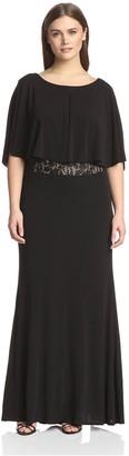 ABS by Allen Schwartz Women's Cape Sleeve Lace Waist Gown