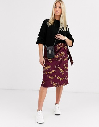 Vero Moda floral tie front midi skirt