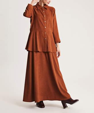 Simmly Women's Maxi Skirts Camel - Camel Velvet Button-Up & Maxi Skirt - Women
