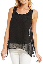 CeCe Sleeveless Solid Clip Dot Top