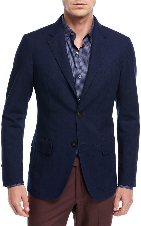 Ermenegildo Zegna Slim Fit Denim Two-Button Jacket