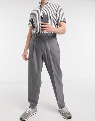 ASOS DESIGN oversized tapered smart trouser in grey pinstripe