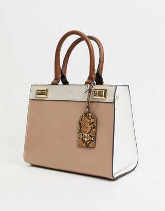Aldo persea tote bag with contrast handles in brown multi