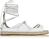 DSQUARED2 Riri White Nappa Leather Lace-up Flat Espadrilles