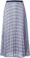 Oscar de la Renta pleated floral lace skirt