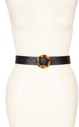 Halogen Round Tortoise Buckle Leather Belt