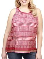 Lucky Brand Plus Plus Geometric-Print Tie-Up Top