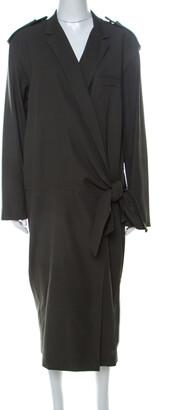 Max Mara Khaki Green Cotton Cosmos Tuxedo Dress L