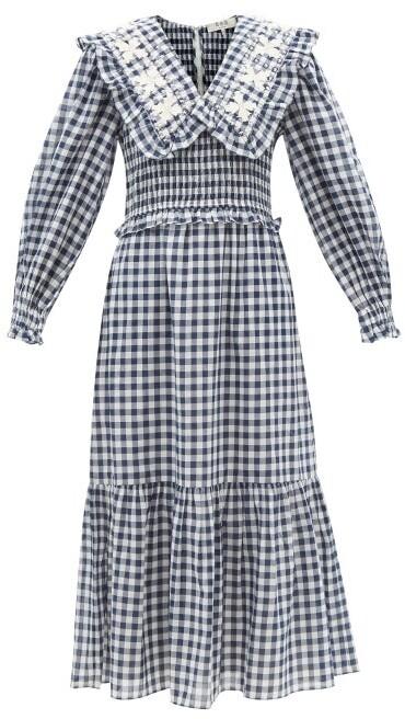 Thumbnail for your product : Sea Gina Ruffled-collar Gingham Cotton Midi Dress - Navy Print