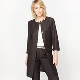 Anne Weyburn Long Collarless Stretch Twill Jacket