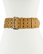 Neiman Marcus 65mm Wide Braided Faux-Leather Belt, Tan
