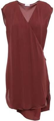 Brunello Cucinelli Wrap-effect Silk-georgette Mini Dress