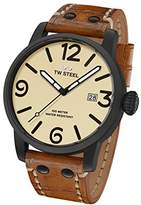 TW Steel Men's 'Maverick' Quartz Stainless and Leather Casual Watch, Color:Brown (Model: MS42)