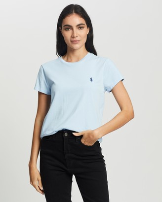 Polo Ralph Lauren Women's Blue Basic T-Shirts - Polo Player SS Tee - Size L at The Iconic