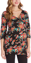 Glam Black & Red Floral Side-Ruche Maternity Tunic