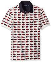 Nautica Men's Short Sleeve Slim Fit Fashion Print Polo Shirt