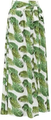 Melissa Odabash Elsa Palm Tree-print Poplin Maxi Skirt - White Print