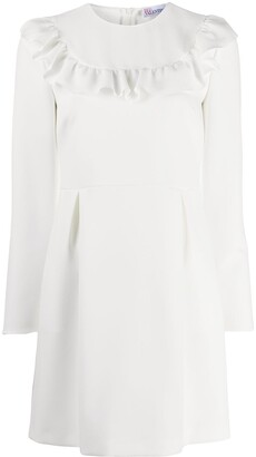 RED Valentino Ruffle-Trim Long-Sleeve Dress