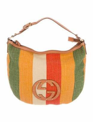 Gucci Small Striped Blondie Hobo Green