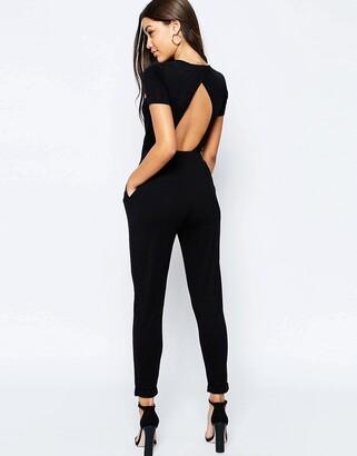 Asos Design DESIGN wrap front jersey jumpsuit with short sleeve
